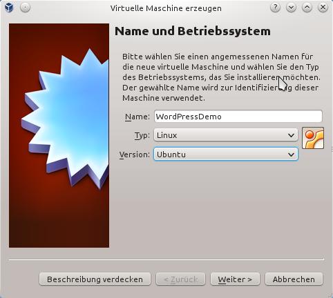 Name und Betriebssystem festlegen