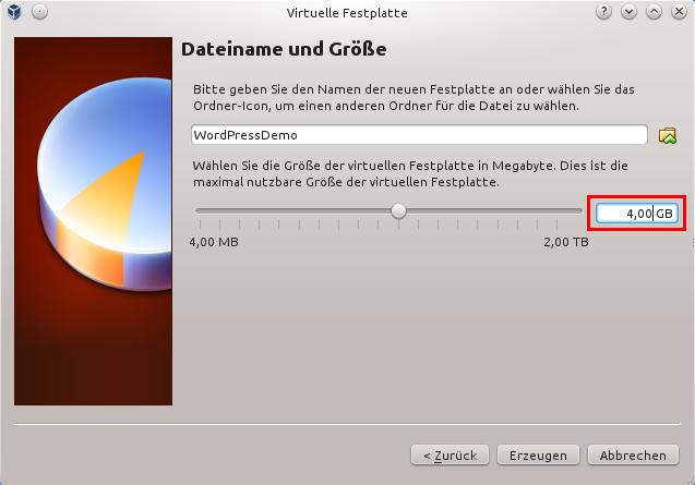 Dateiname und Größe der virtuellen Festplatte