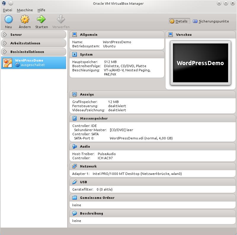 Virtuelle Maschine bereit für Betriebssystem