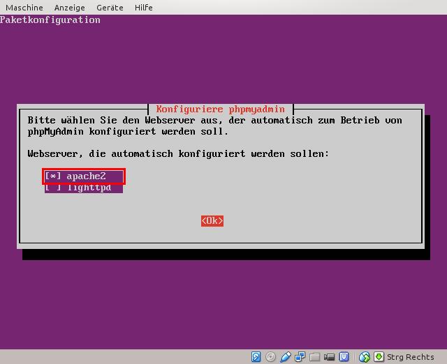 Webserver für phpMyAdmin auswählen