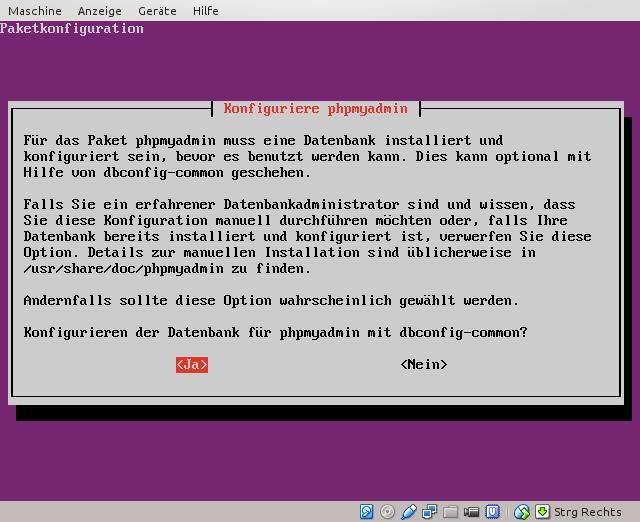 Datenbank für phpMyAdmin konfigurieren