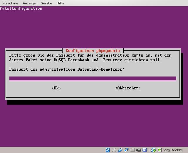 MySQL-root-Passwort eingeben