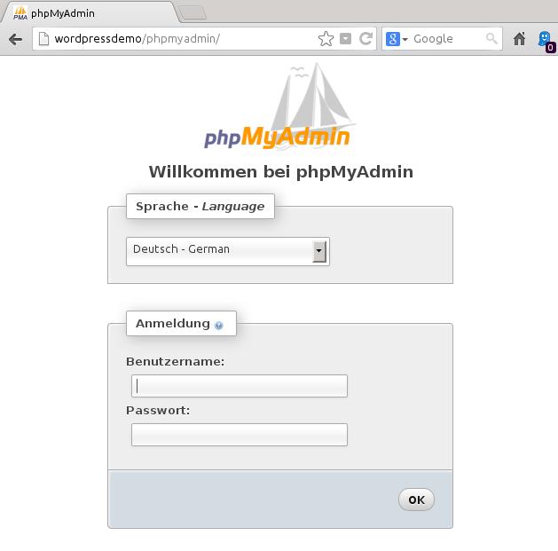 phpMyAdmin-Startseite