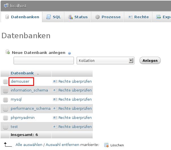 Verfügbare Datenbanken anzeigen