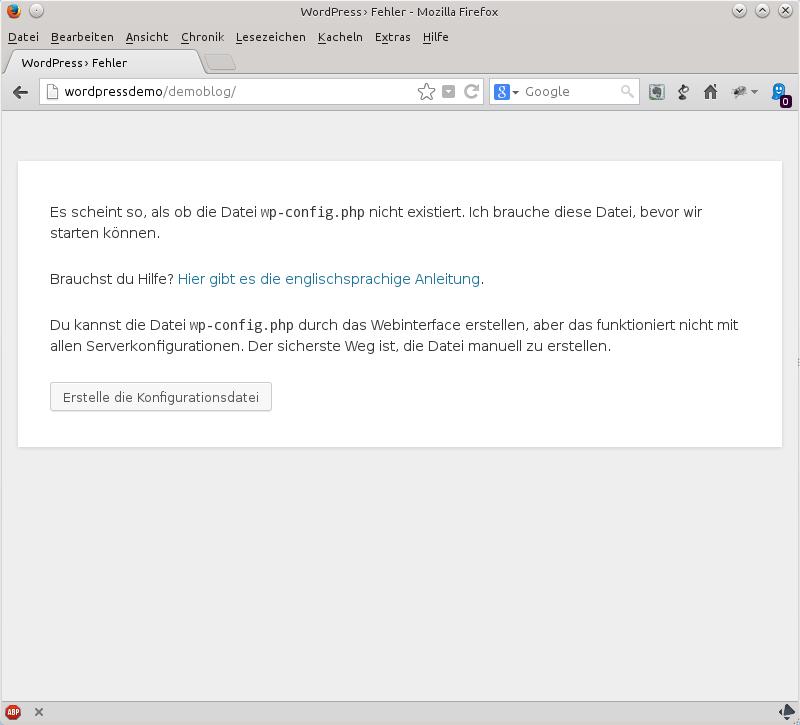Erster Aufruf von WordPress