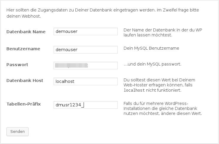 Zugangsdaten zur Datenbank eintragen