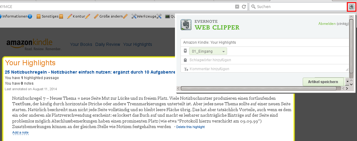 Kindle-Clippings mit Evernote WebClipper kopieren